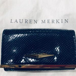 Lauren Merkin Blue/Gold Chain wallet clutch